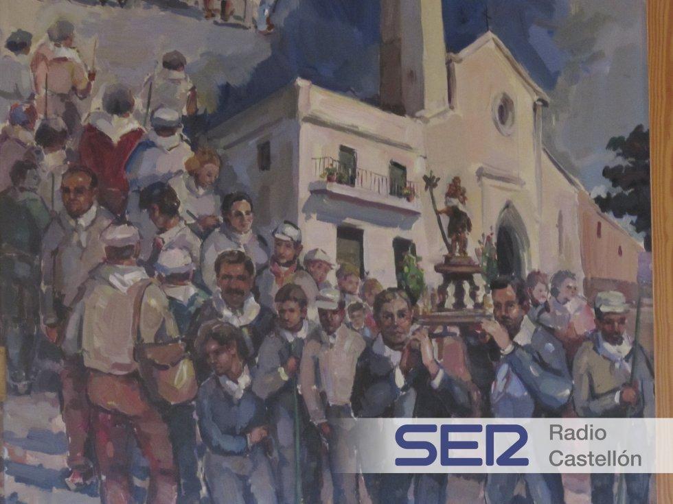 Imagen del altar de una capilla en Vall d'Alba en cuyo altar se puede observar una pintura con el ex alcalde de Vall d'Alba, Francisco Martínez, el ex presidente de la Diputación, Carlos Fabra, y un chófer.