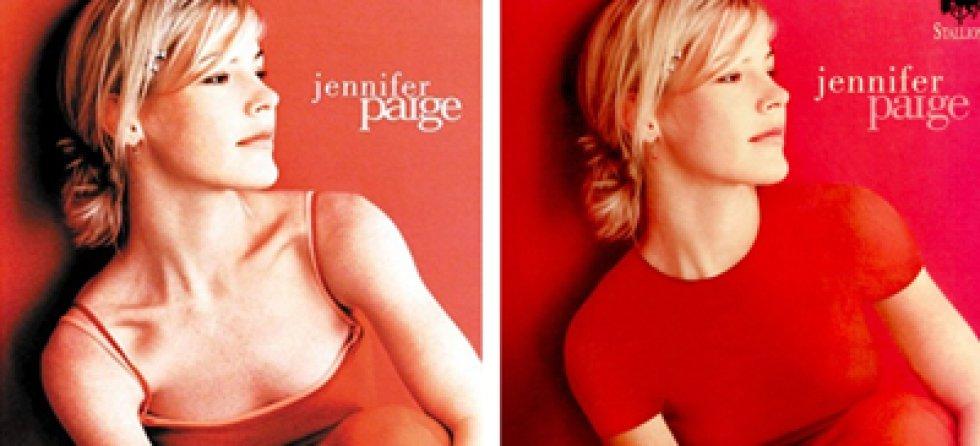 La portada del cd de Jennifer Paige era bastante austera de por sí, pero ni eso la libró de los cambios. El leve escote de la cantante fue tapado por una camiseta de manga corta y sin escote.