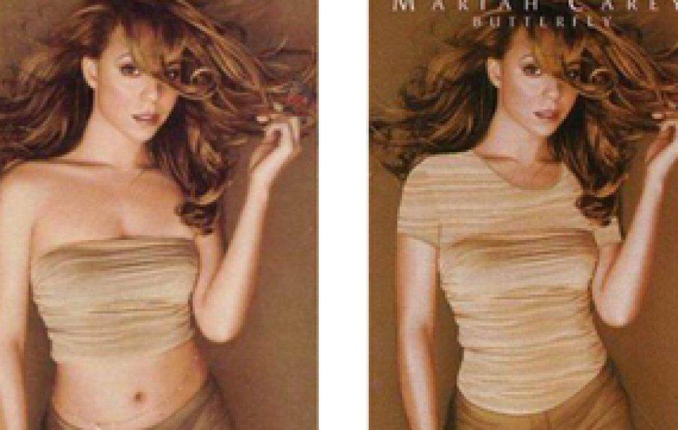 El top que luce Mariah Carey en 'Butterfly' pasa a ser una camiseta larga en la versión oriental.