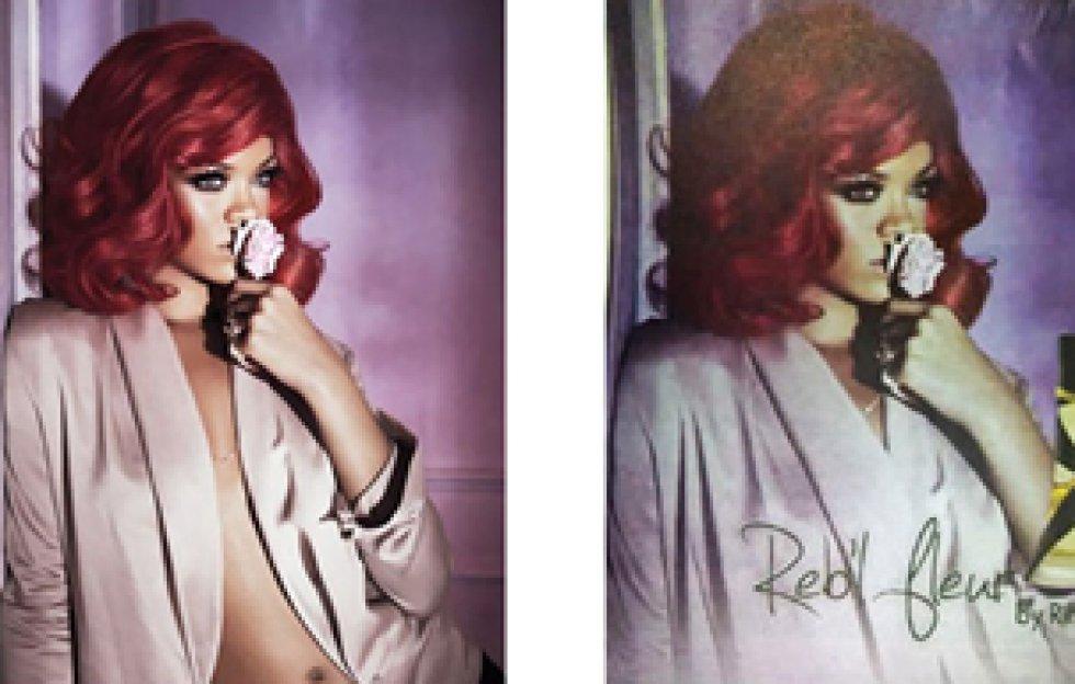 Cuando Rihanna presentó su perfume Reb'l Fleur, la prensa se vio obligada a abotonarle digitalmente la chaqueta.