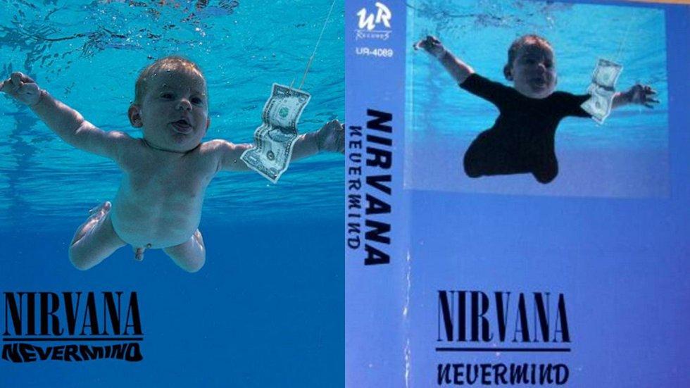 Incluso estada portada de Nirvana en la que aparece un niño desnudo sobre el agua ha sido censurada, tapándole el cuerpo al pequeño.