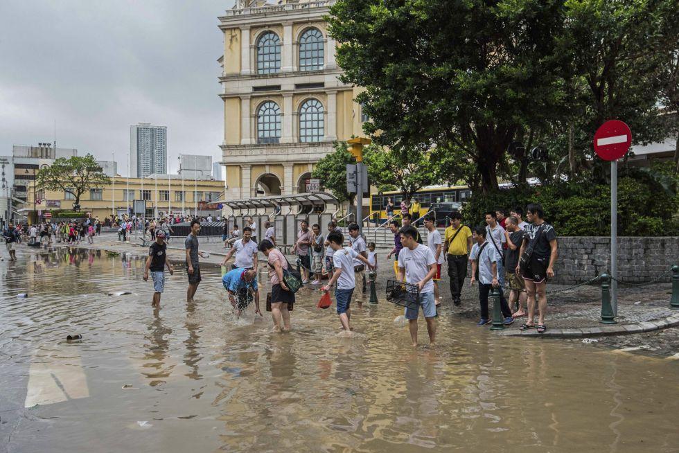 Destrozos en una calle tras el paso del tifón 'Hato' en Macao (China), el más fuerte de los últimos 18 años. Doce personas han muerto y más de 270 personas han resultado heridas.