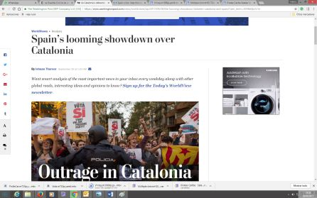 Cobertura del Washington Post sobre conflicto Catalán