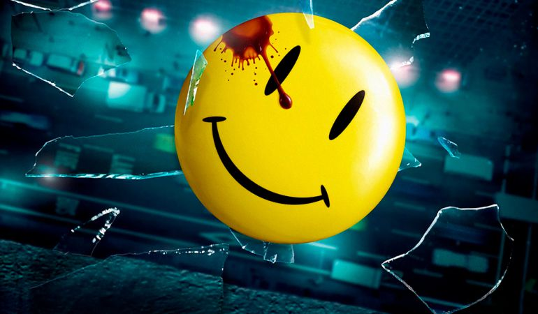 La famosa Smiley Face de los comics de Watchmen.