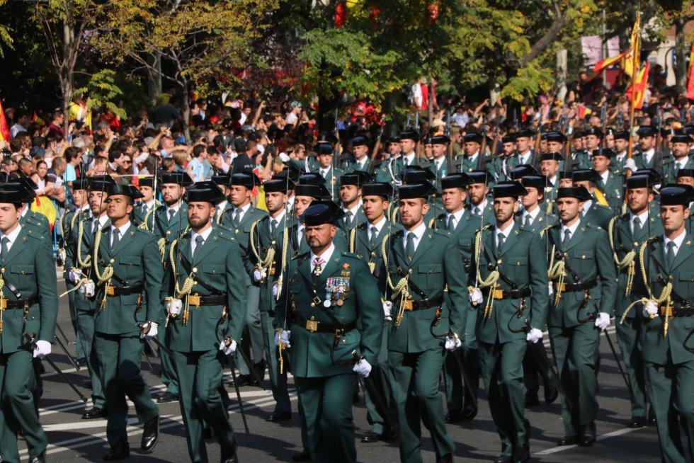La Guardia Civil, durante el desfile militar.