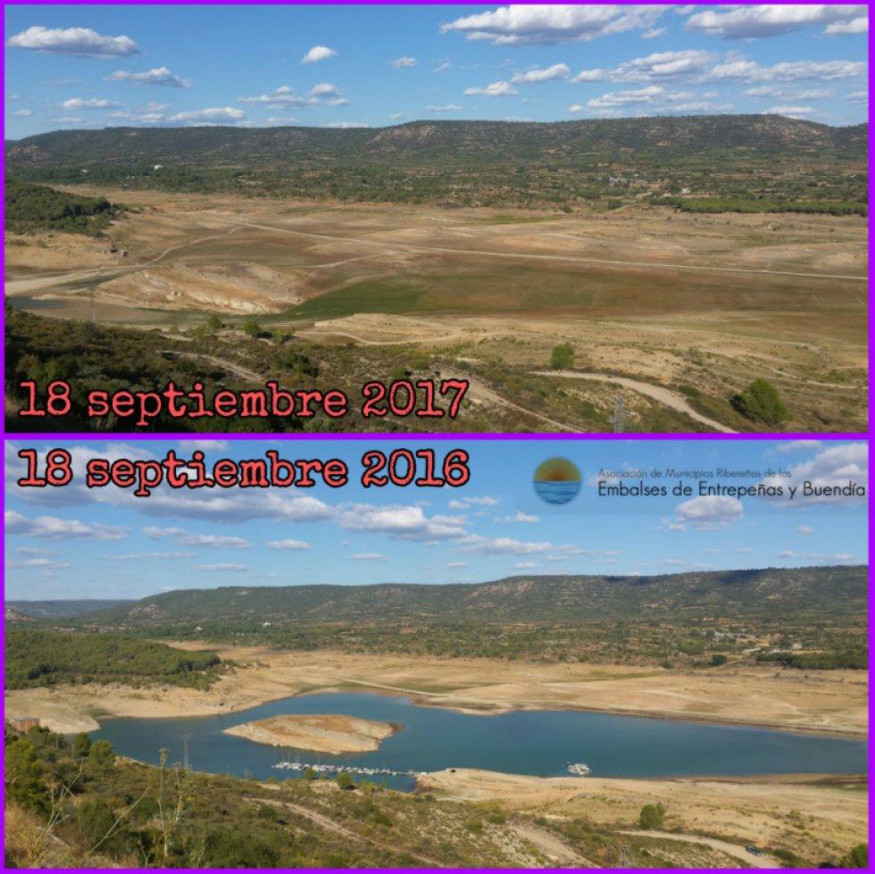 Dos imágenes del embalse de Entrepeñas, situado en la Alcarria Baja de Guadalajara, en el cauce del río Tajo. La sequía en Castilla-La Mancha ha provocado que el embalse de Entrepeñas se encuentren al 9,4% de su capacidad, con 156 hectómetros.