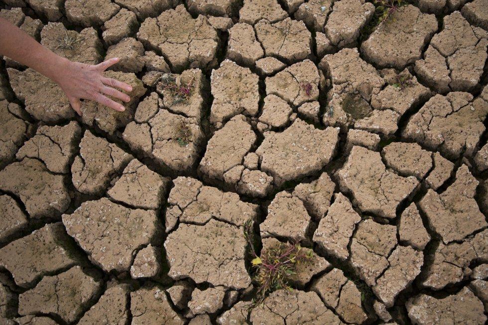 Efectos de la sequía en el embalse de Linares, en Maderuelo (Segovia).