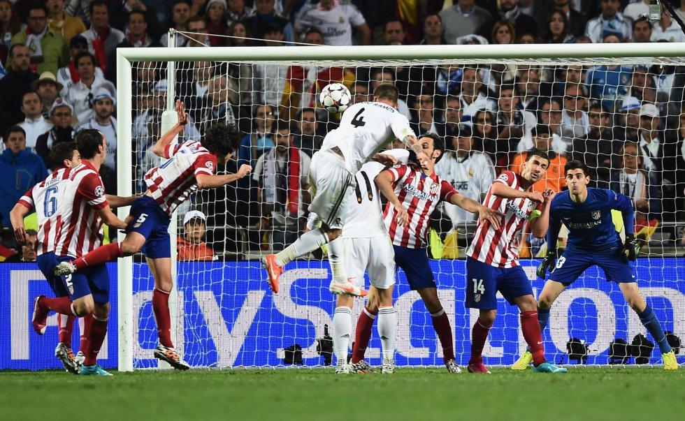 El gol de Sergio Ramos que provocó la prórroga en la final de Lisboa. El Real Madrid terminaría ganando 4-1 y celebrando la Décima