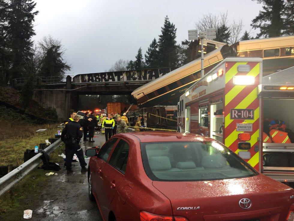 Las imágenes del accidente de tren en Seattle