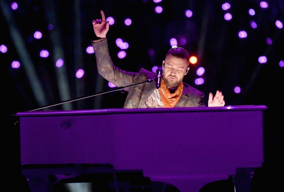 Justin Timberlake, en plena actuación en el descanso del partido