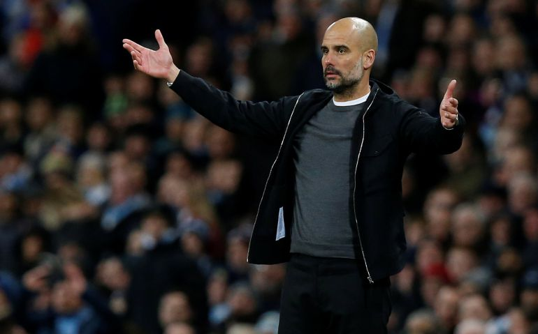 Guardiola durante un partido del City