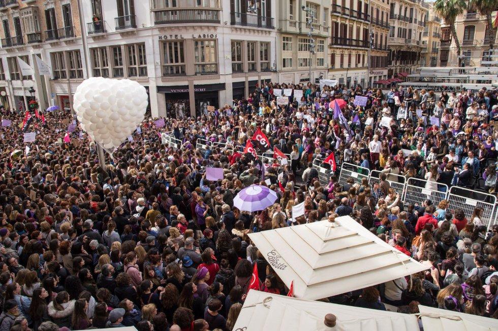 La concentración en Málaga con motivo de la huelga feminista.
