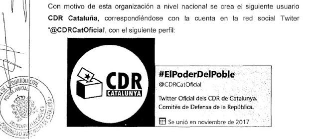 Fragmento del informe de la Guardia Civil sobre los CDR