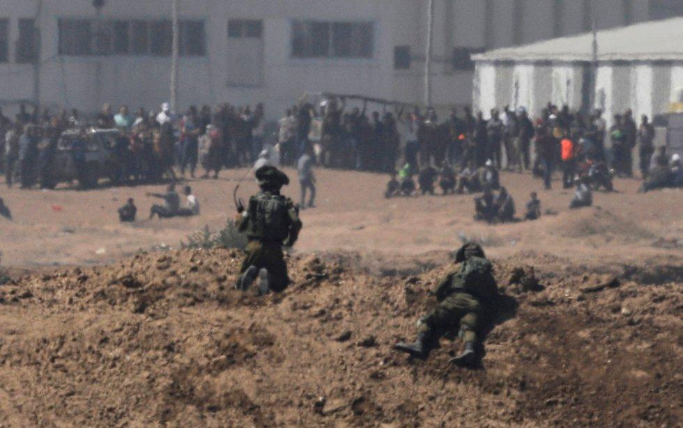 Soldados israelíes cerca de una de las zonas de conflicto