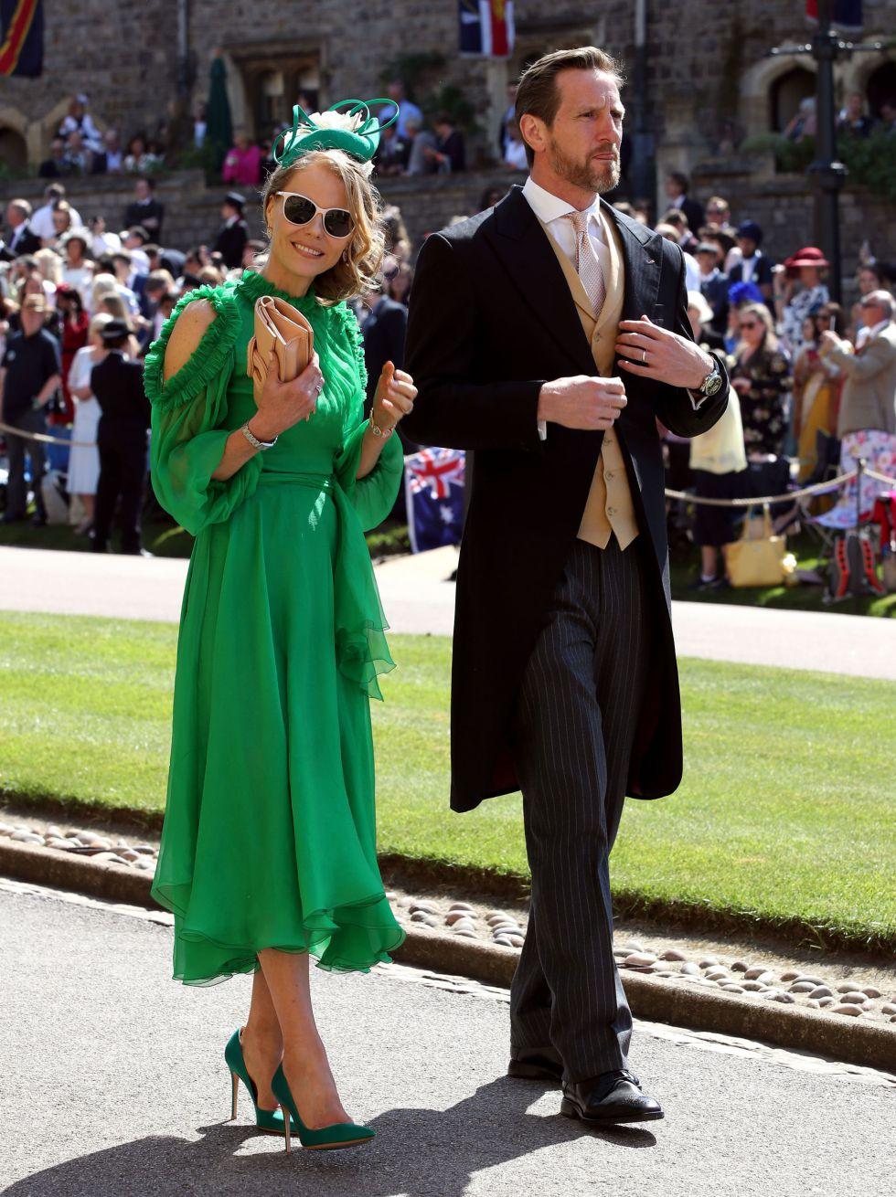 Will Greenwood y Caroline Greenwood llegan a la Capilla de San Jorge en el Castillo de Windsor.