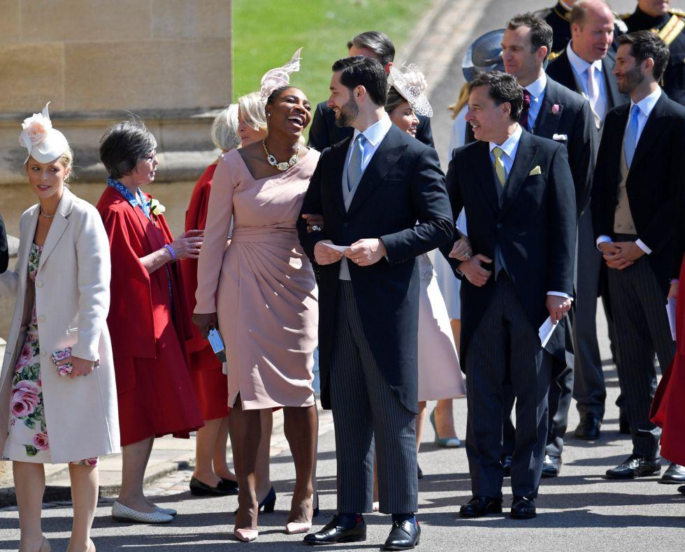 La tenista Serena Williams llega al Castillo de Windsor del brazo de su marido, Alexis Ohanian