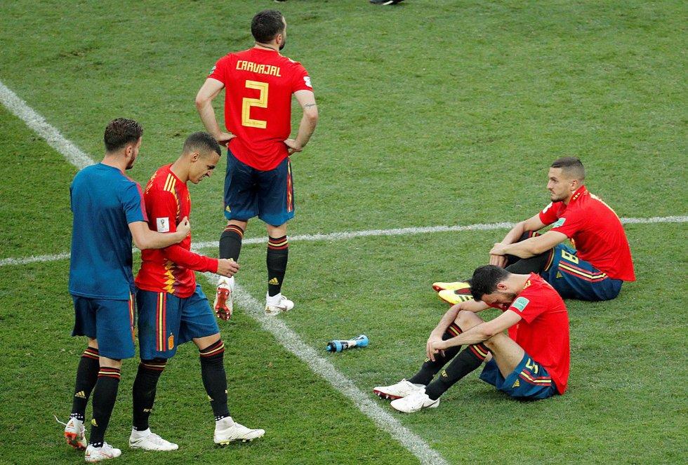 Carvajal, Rodrigo, Koke, Busquets y Saúl se lamentan tras la eliminación