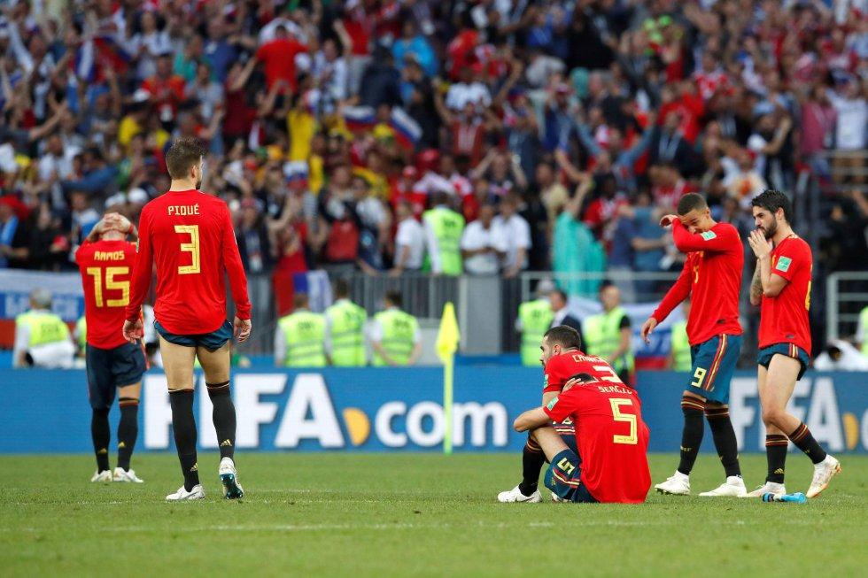 Los jugadores, desolados tras la derrota en la tanda de penaltis