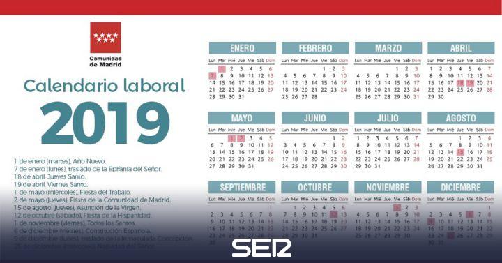 Calendario 20019 Con Festivos.Consulta El Calendario Laboral 2019 En La Comunidad De