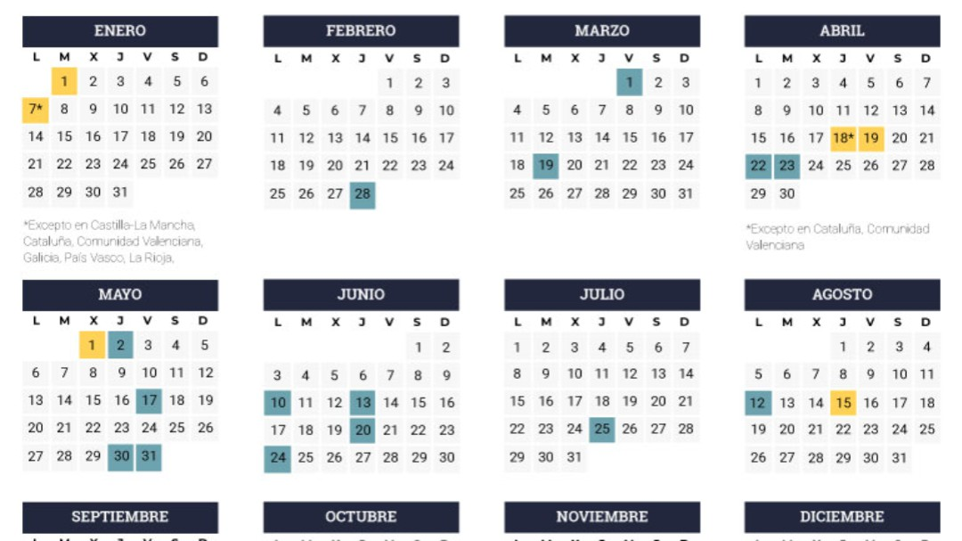 Calendario Laboral Pais Vasco 2019.Calendario Laboral Cadena Ser
