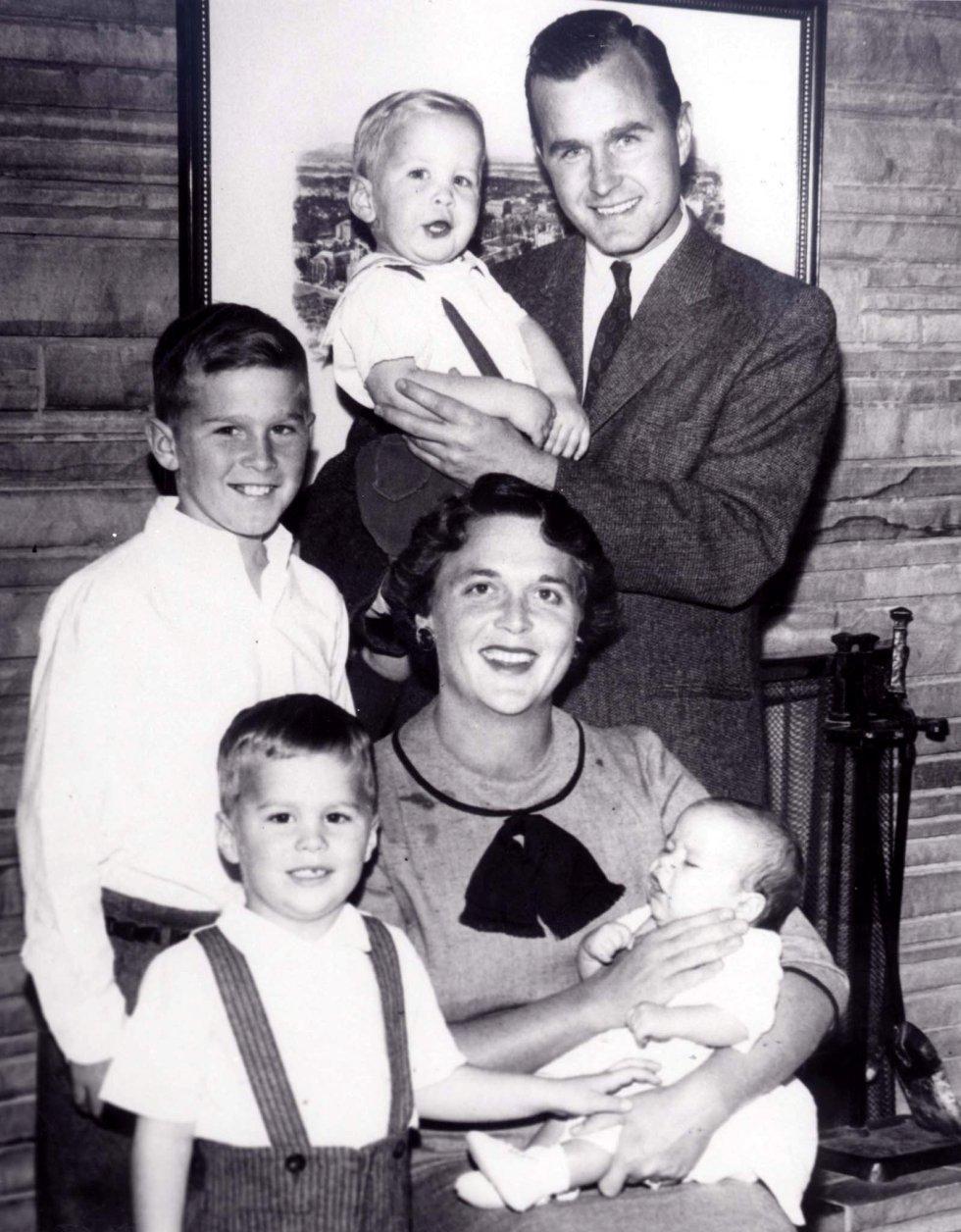La familia Bush al completo en 1956