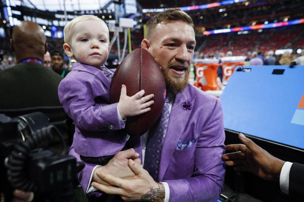 Connor McGregor, durante la previa de la Super Bowl