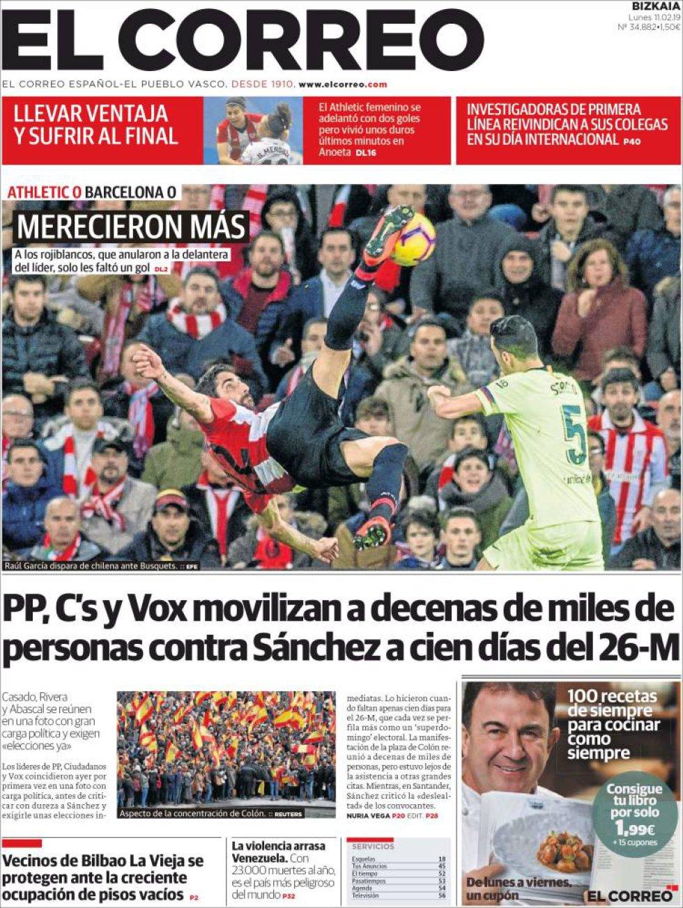 Así reflejan las portadas la manifestación del PP, Cs y Vox en Colón