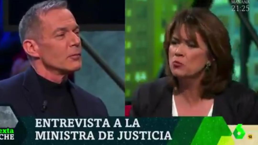 El enfado de la ministra Dolores Delgado tras esta pregunta de Hilario Pino en 'LaSexta Noche'