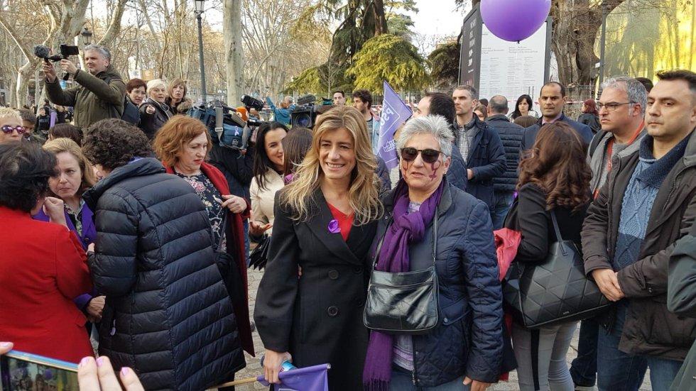 Begoña Gómez, la mujer del presidente del Gobierno, Pedro Sánchez. En la manifestación del 8M