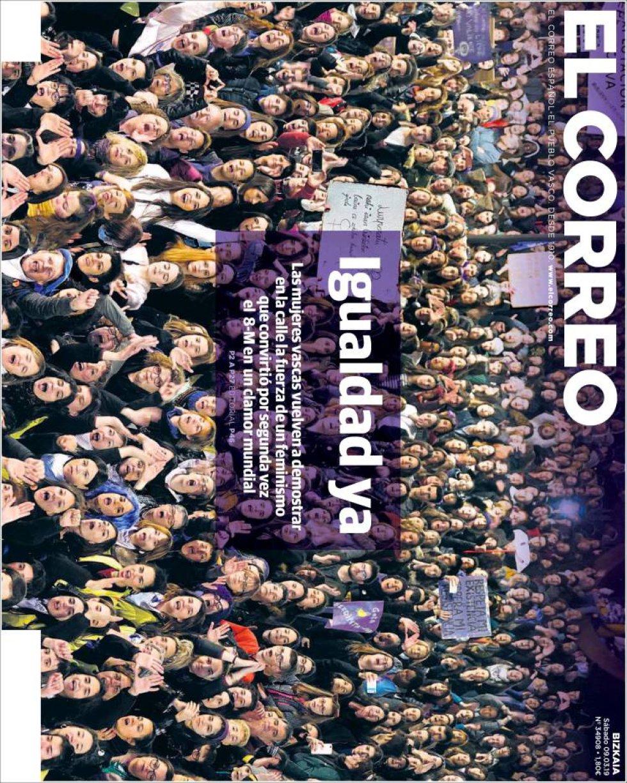 Portada de EL CORREO el 9M