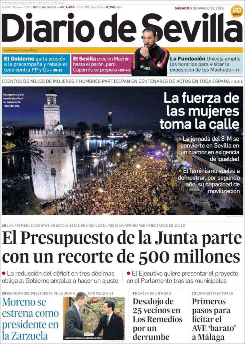 Portada de Diario de Sevilla el 9M