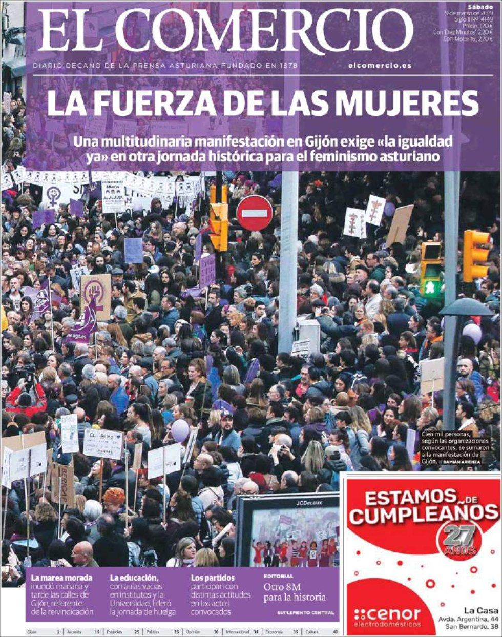 Portada de EL COMERCIO el 9M