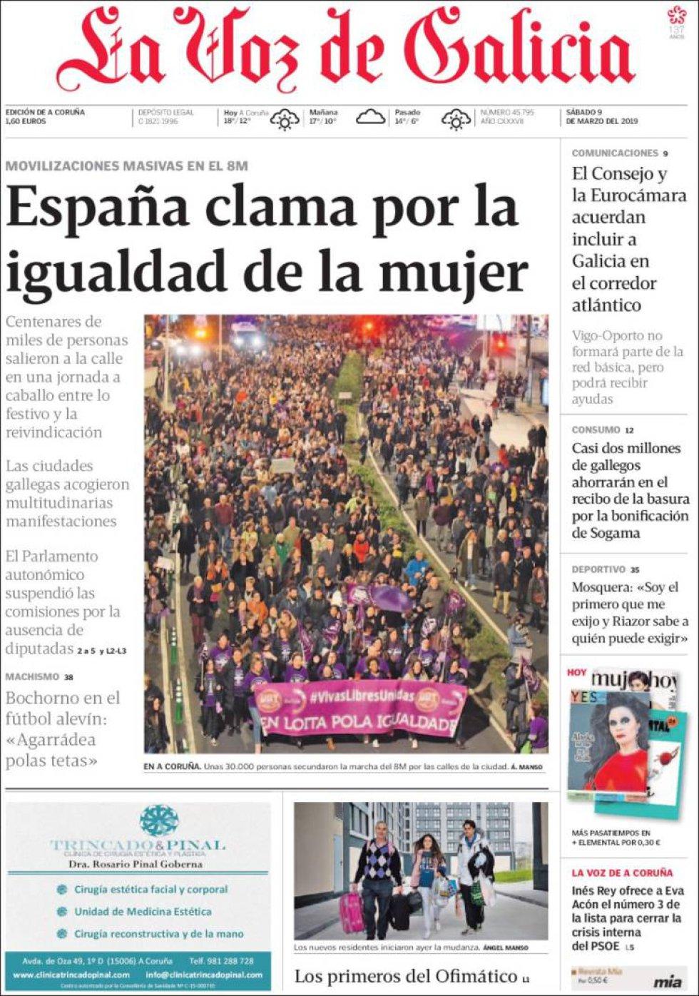 Portada de La Voz de Galicia del 9M