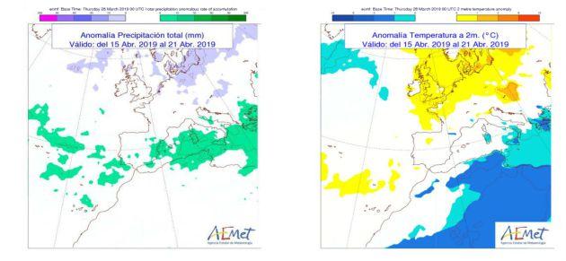 Tendencia general de temperaturas y lluvias para la semana del 15 al 21 de abril.