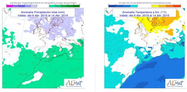 Tendencia general de temperaturas y lluvias para la semana del 8 al 15 de abril.