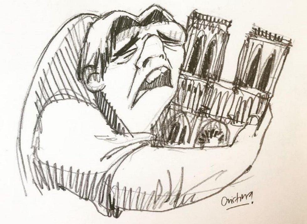 """La ilustradora ecuatoriana Cristina Correa Freile, de hecho, ha compartido ya un dibujo del Quasimodo de Disney abrazando a la catedral de Notre Dame que en menos de una hora ya supera los 9.000 """"me gusta"""" en Instagram."""