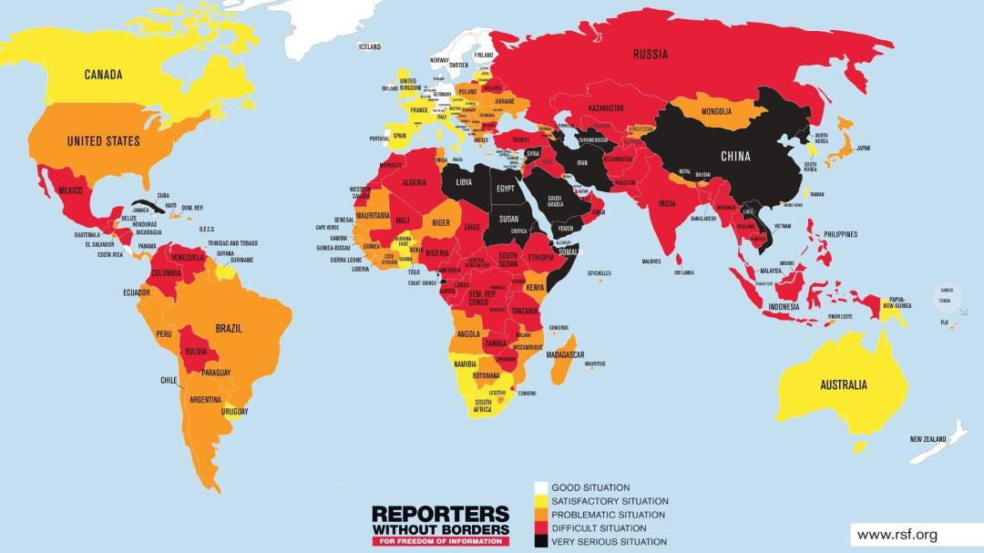 Cada vez son menos los países seguros para la libertad de prensa, según Reporteros Sin Fronteras