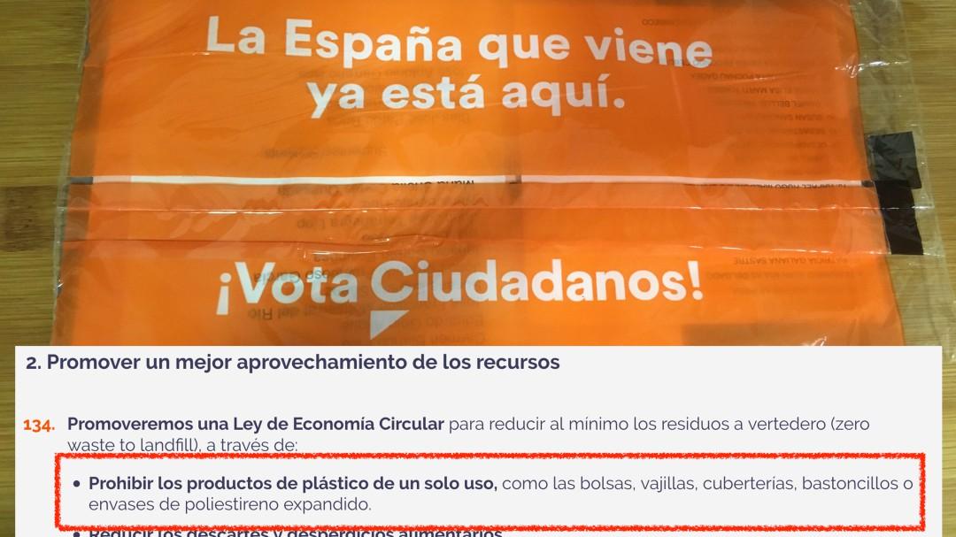 Ciudadanos propone eliminar el plástico pero lo usa en su propaganda electoral