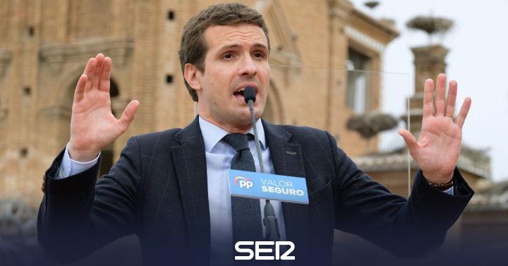 """Casado dice que Sánchez está """"en modo avión"""" y """"le importa un bledo"""" España"""