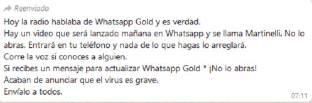 Este mensaje de WhatsApp es una estafa ADN 40
