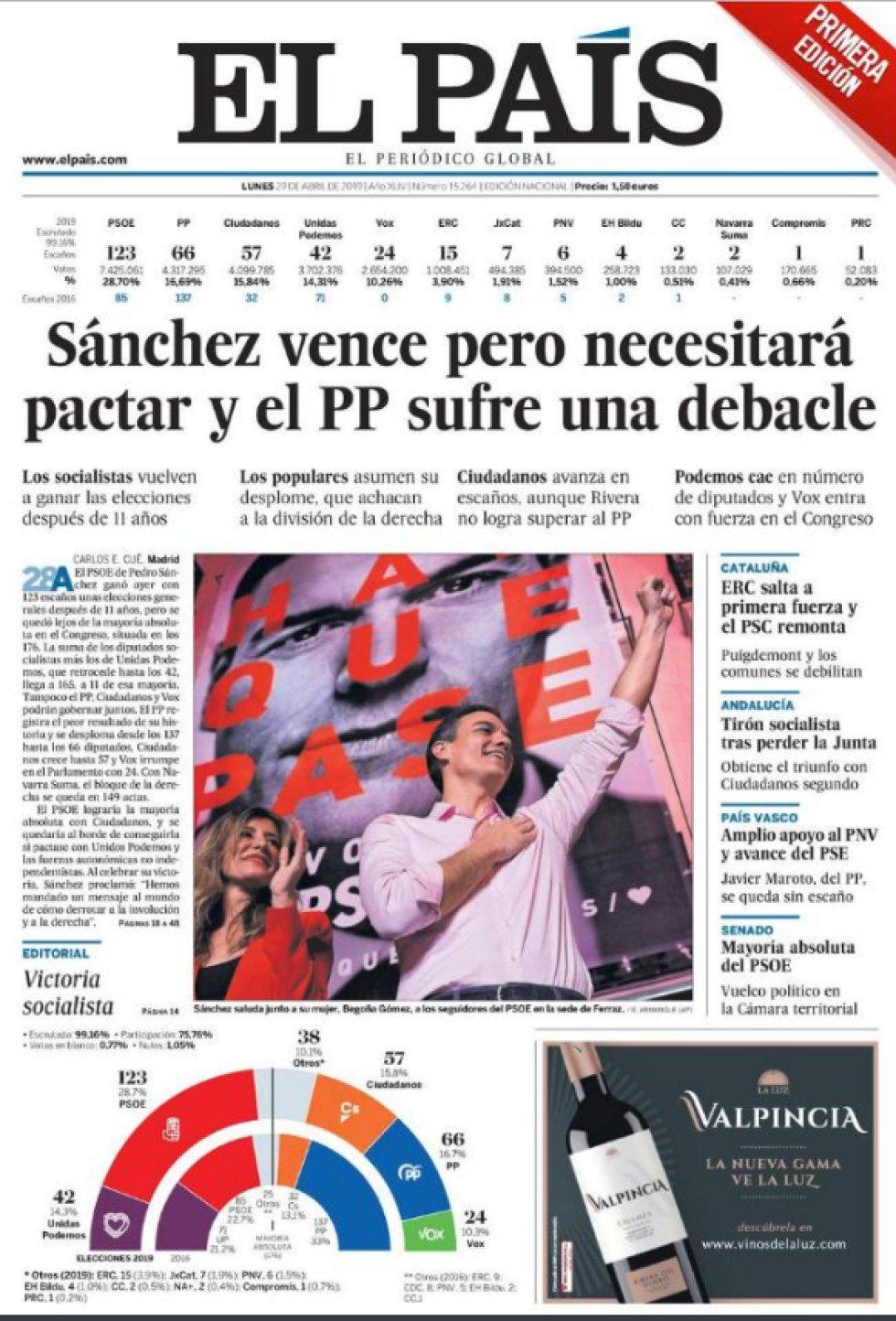 Así reflejan las portadas los resultados electorales tras el 28-A