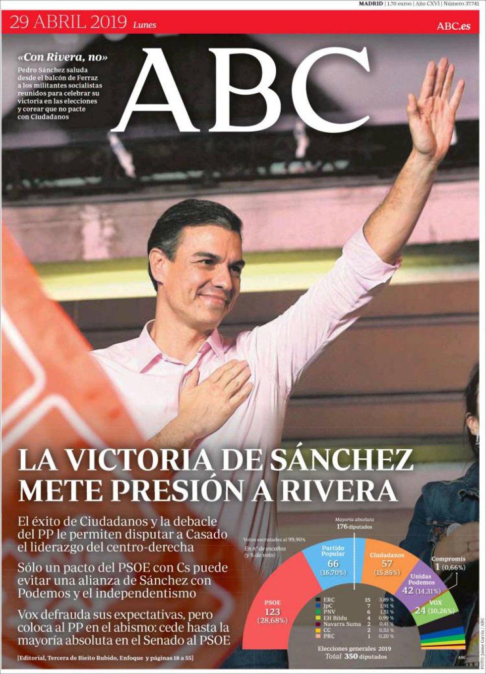 Primera página del periódico ABC.