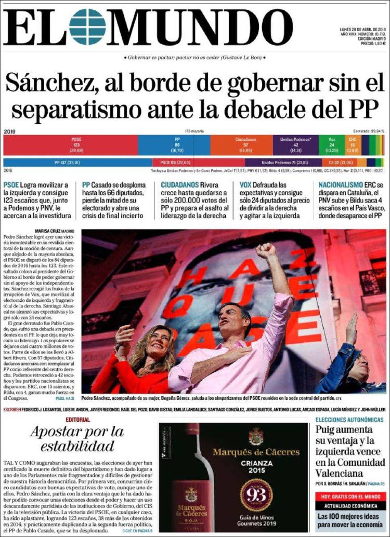 Primera página del periódico 'El Mundo'.