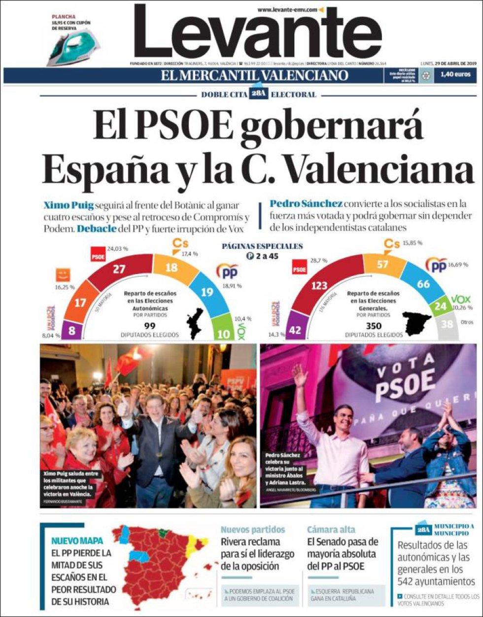 Portada del periódico 'El Levante' tras la celebración de las elecciones autonómicas en la Comunidad Valenciana.