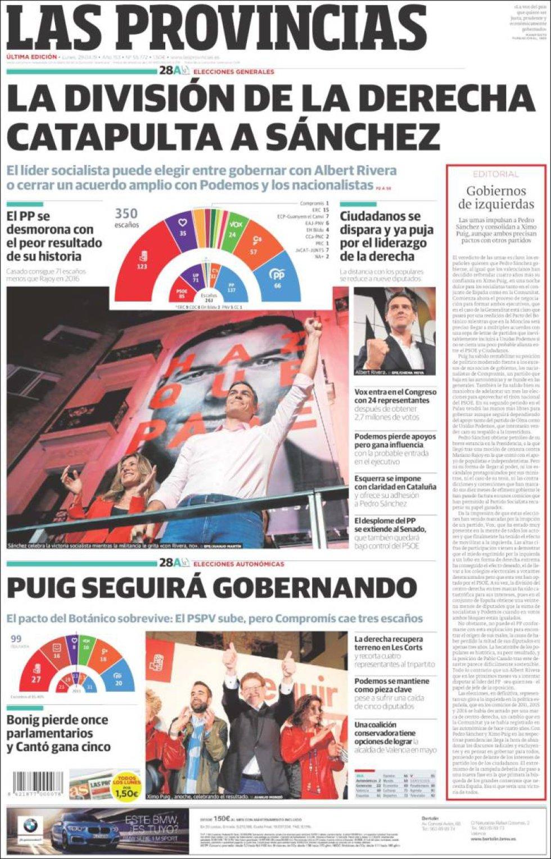 Portada del periódico 'Las Provincisas' tras la celebración de las elecciones autonómicas en la Comunidad Valenciana.