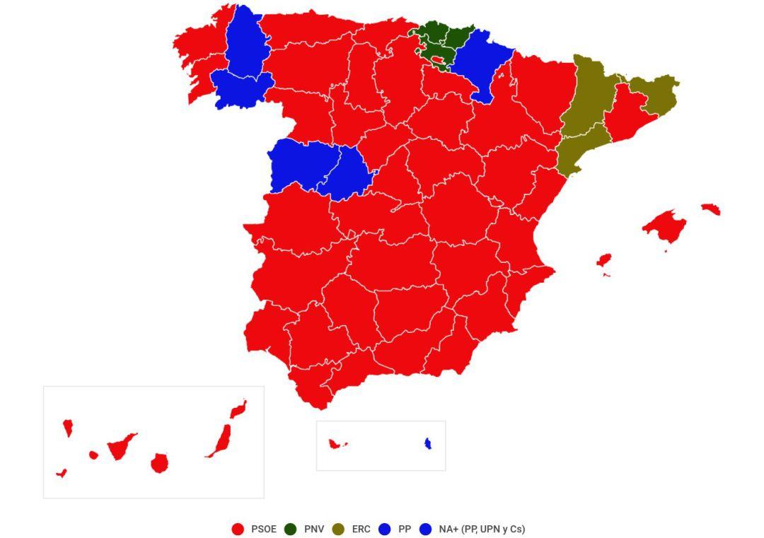 Resultado de imagen de mapa españa roja elecciones 2019