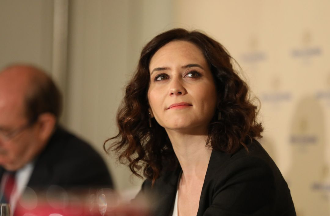 Díaz Ayuso, candidata del Partido Popular por la Comunidad de Madrid en un desayuno informativo.