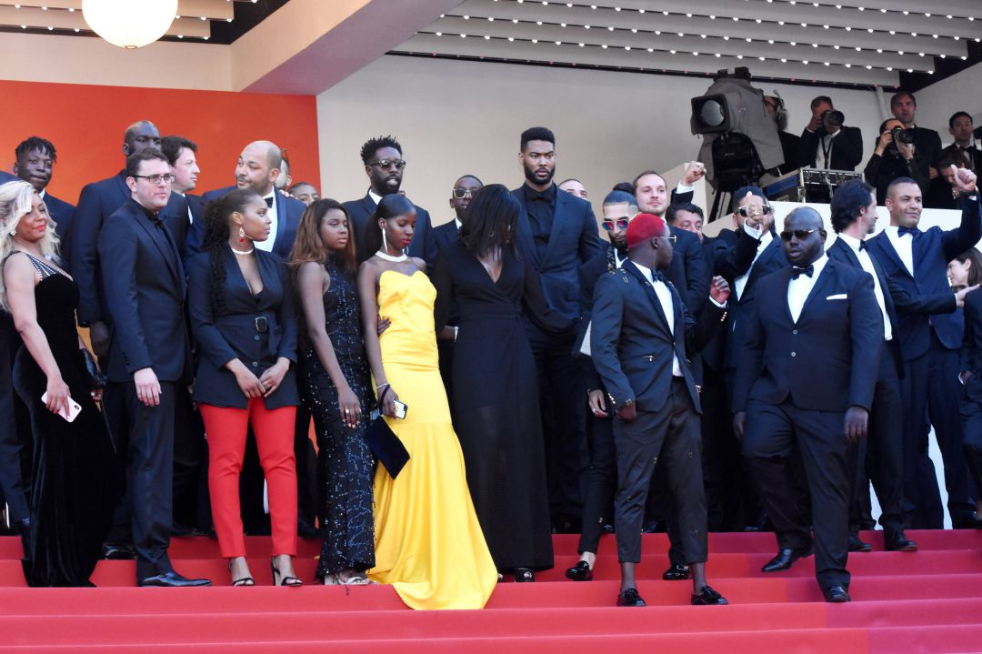 "Ladj Ly,  Djebril Zonga , Alexis Manenti and The Cast of The Miserables attend the screening of ""Les Miserables"" during the 72nd annual Cannes Film Festival on May 15, 2019 in Cannes, France"