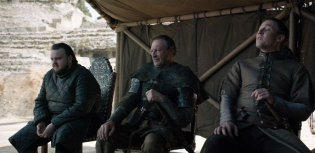 Sam (i), Howland Reed (c) y Edmure Tully (d).