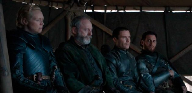 Brienne, Davos, Gendry y Lord Une.
